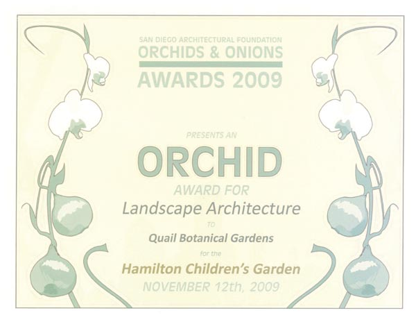 Orchid Award for Landscape Architecture, Quail Botanical Gardens, Hamilton Children's Garden